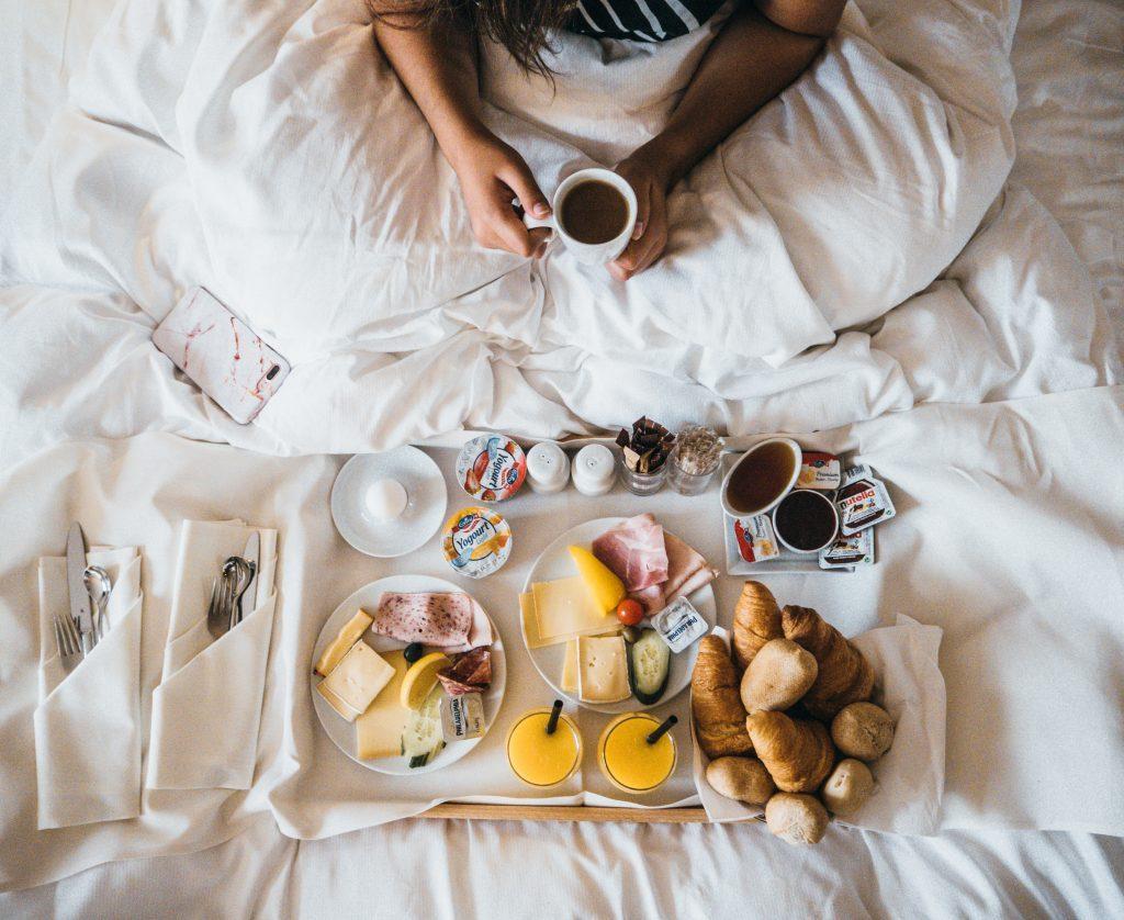 Breakfast in bed on our Switzerland road trip at the Movenpick Zurich Regensdorf