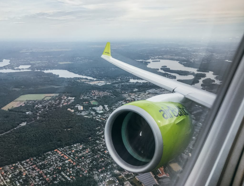 Flying with airBaltic on their new Bombardier CS300, with amazing views over Berlin!