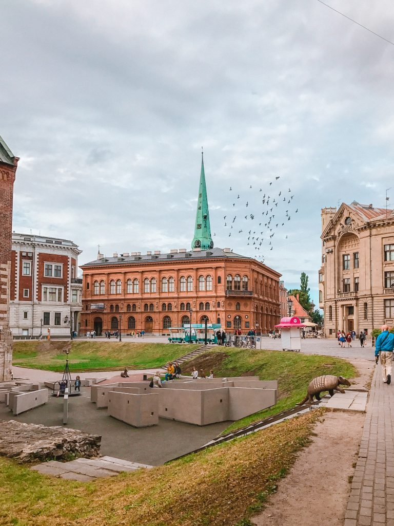A flock of birds flies over the Dom Square in Riga