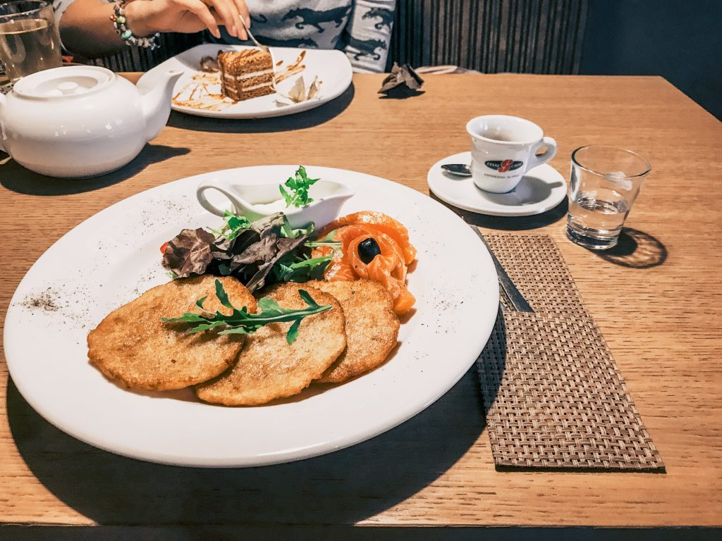 Potato pancakes are a common food in Latvia, here served with lightly salted salmon