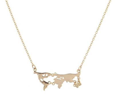 Holiday gift guide for the millennial traveler - world map necklace