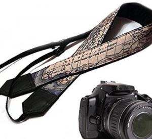 Holiday gift guide for the millennial traveler - vintage map camera strap