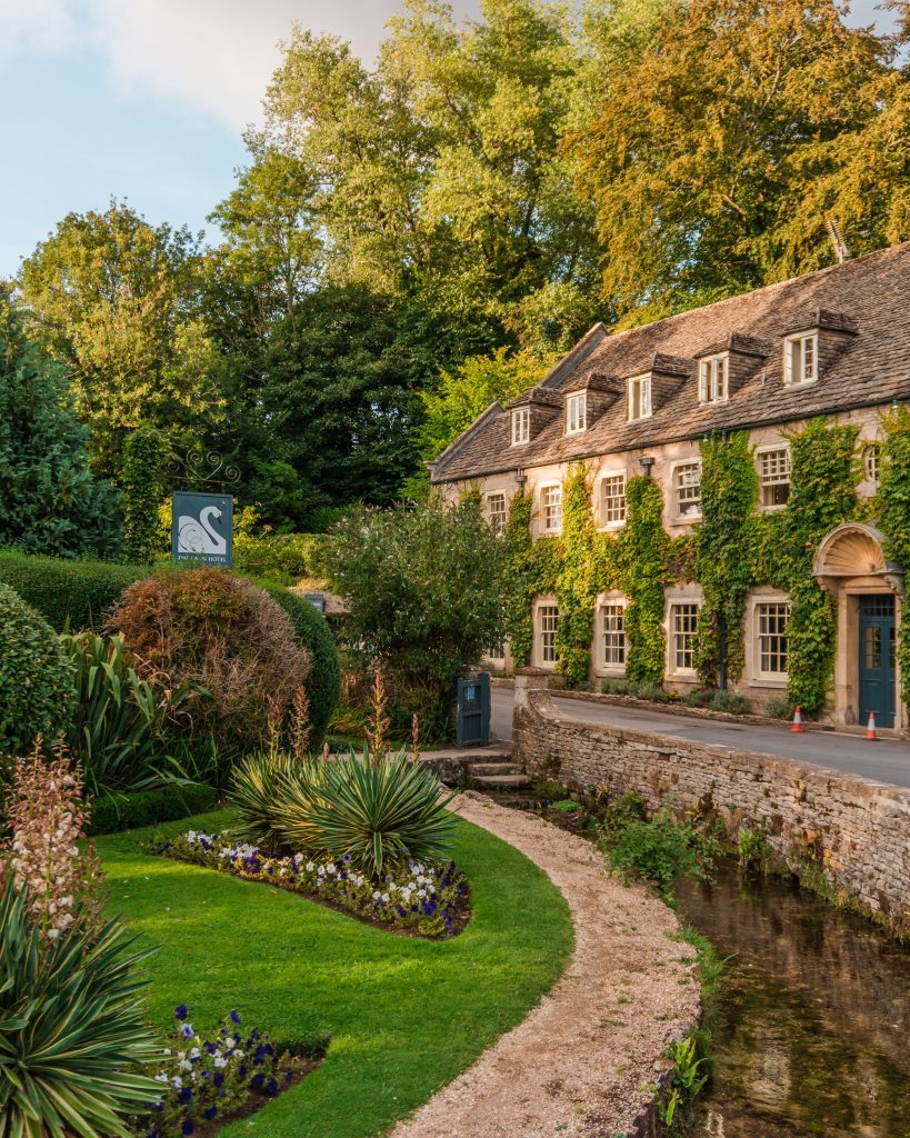 The Swan Hotel is an iconic sight in the Cotswolds village of Bibury