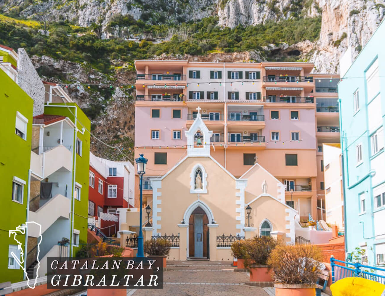 Catalan Bay is one example of the awesome things to do in Gibraltar. These colourful houses and the beautiful church that back up against the Rock of Gibraltar are a unique spot to visit.