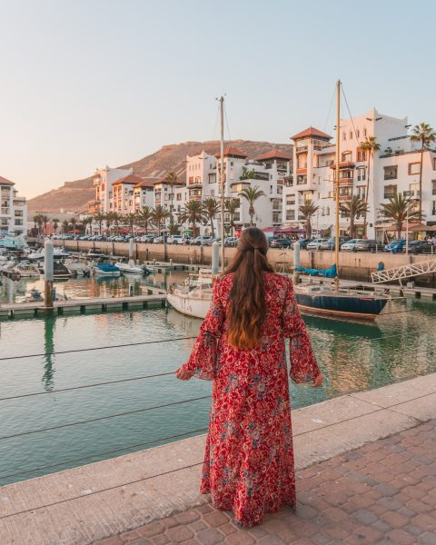 Agadir Morocco has so many things to do! One of the top things to do in Agadir city is to visit the marina - it's particularly beautiful at sunset with all the boats in the harbour and the harbourside shops and restaurants in the background.