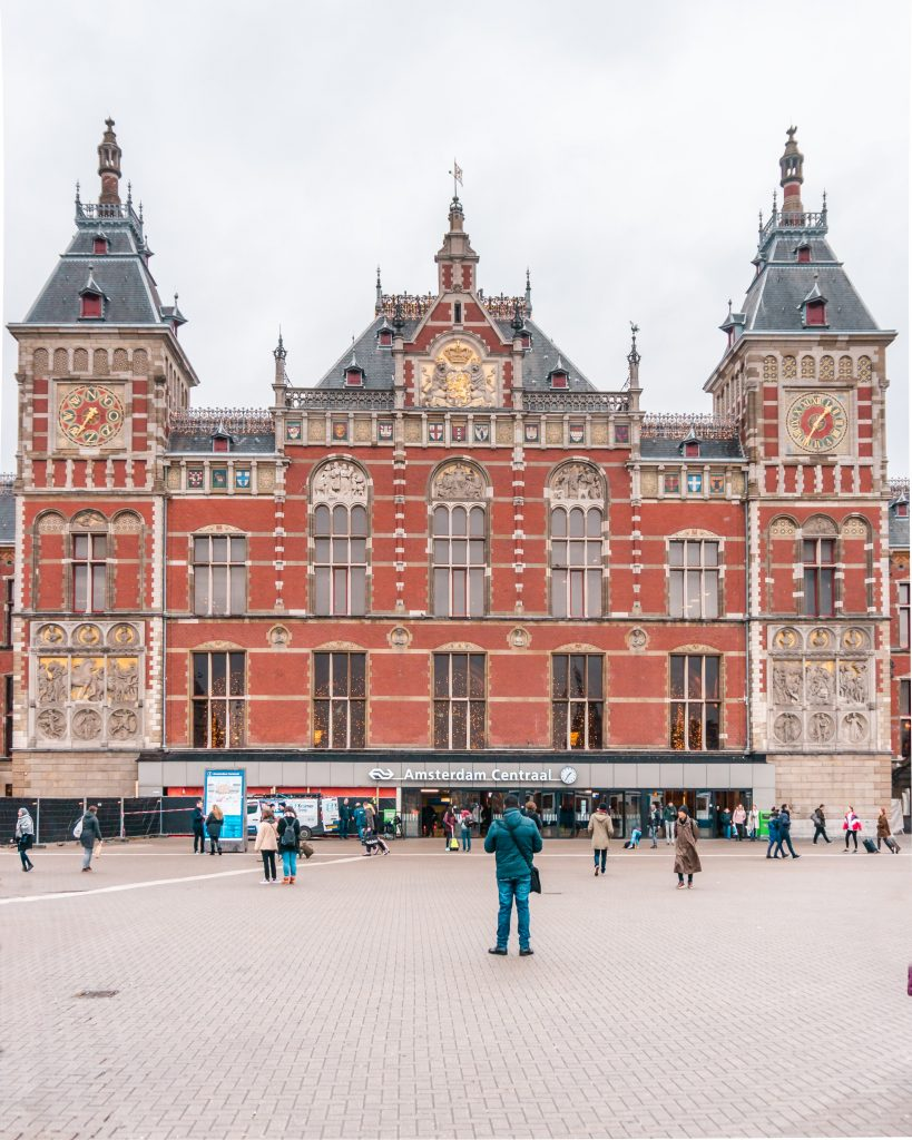 Amsterdam Centraal station was designed by architect Pierre Cuypers in the 19th century and the building is a beautiful example of Gothic architecture! It's one of the most instagrammable places in Amsterdam.