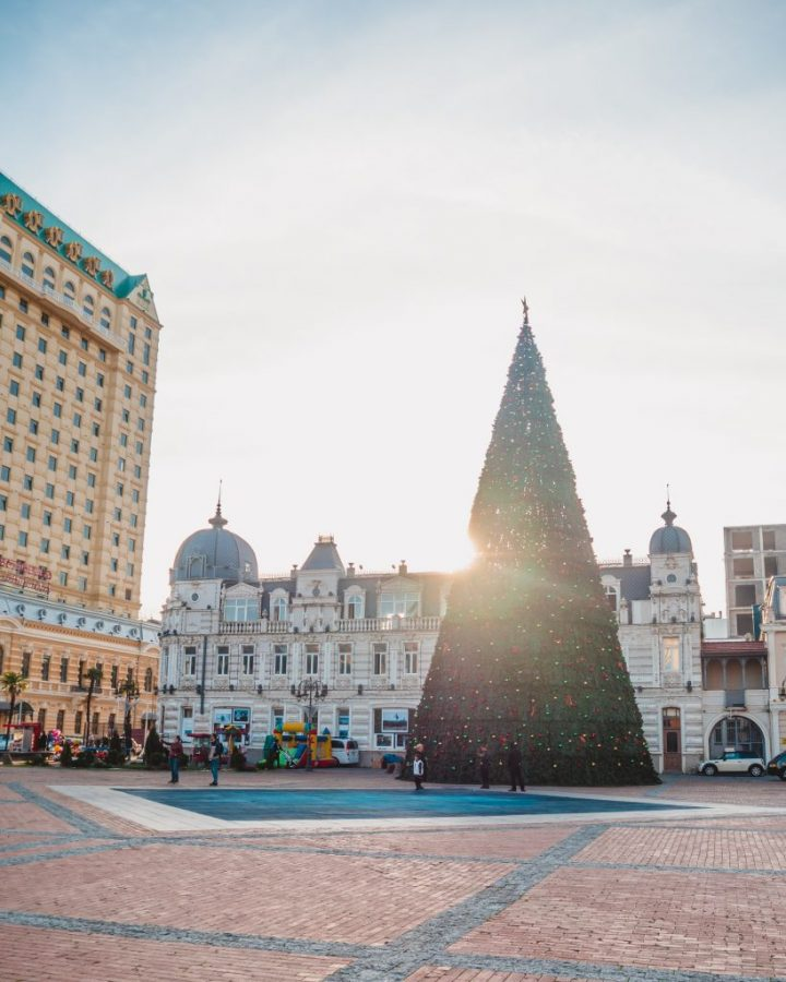 Batumi looks beautiful with its Christmas tree and Christmas market in Europe Square