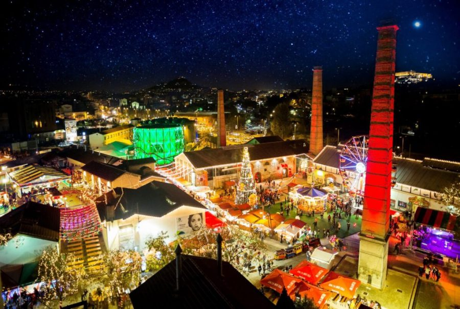 Visit the Technopolis Christmas Factory for a Christmas market in Athens