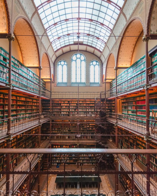 The art research library in the Rijksmuseum is a beautiful library - with an arched ceiling made up of panes of glass, three large windows and books covering all the walls, it's a truly beautiful part of the museum.