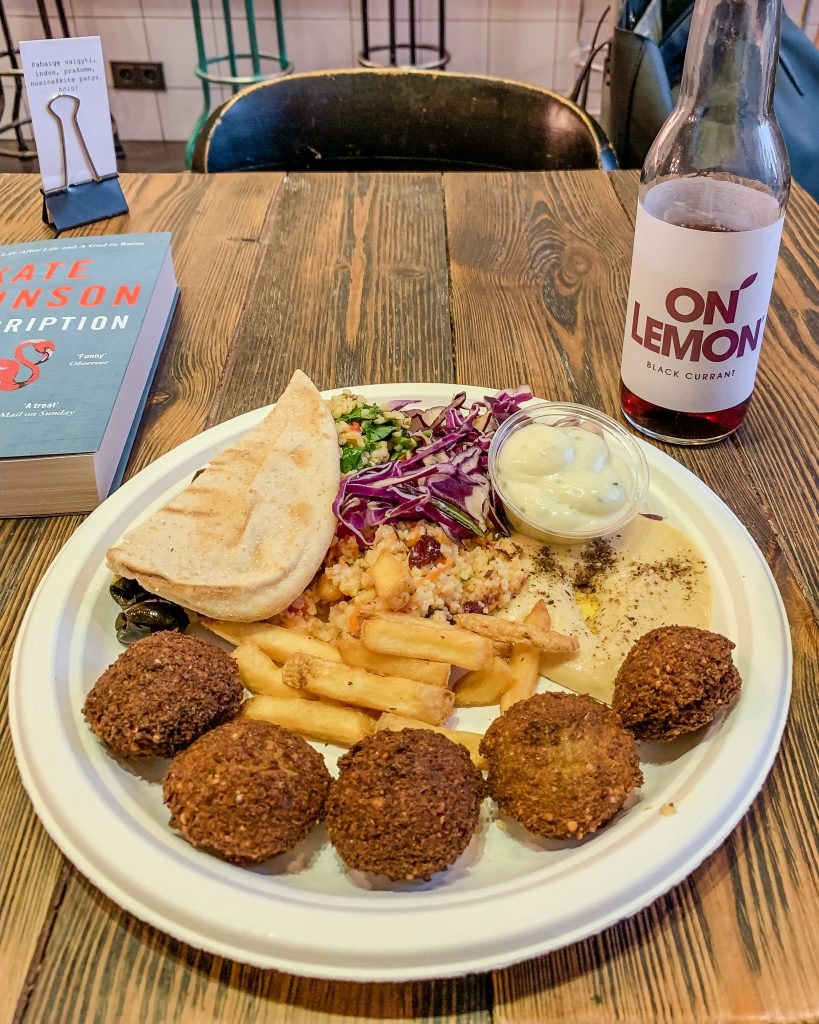 For vegan and vegetarian food in Vilnius, ZATAR Falafel and Hummus is a great spot to eat healthy!