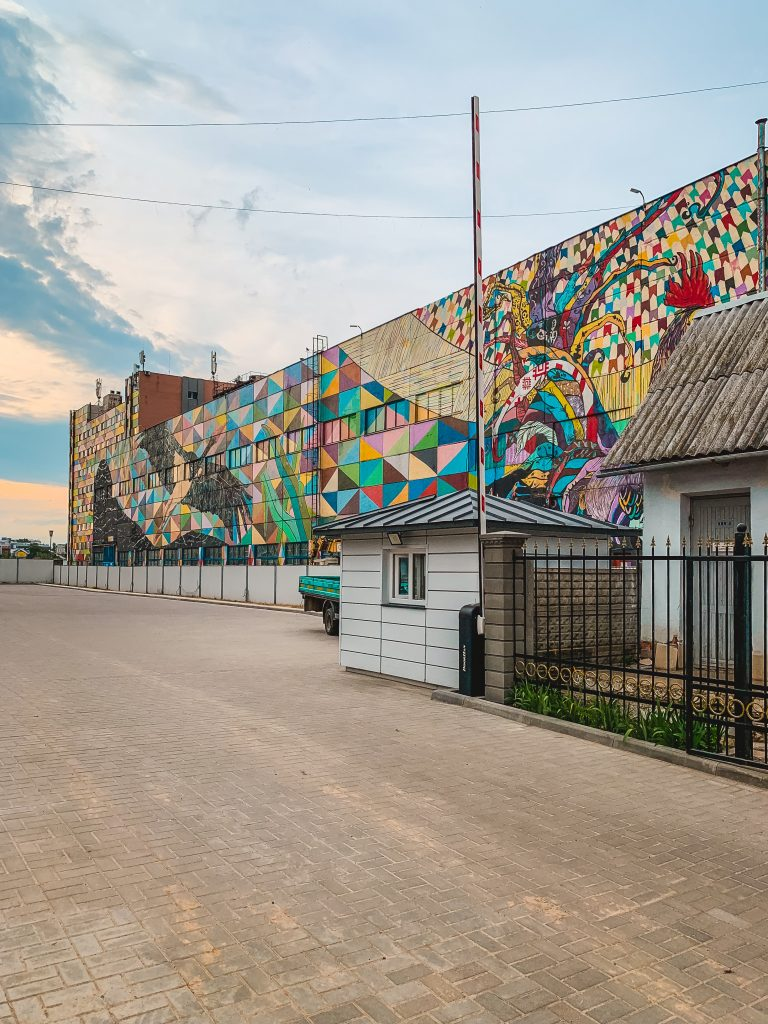 Oktyabrskaya Street in Minsk is a hub of street art in Minsk with art by Ramon Martins