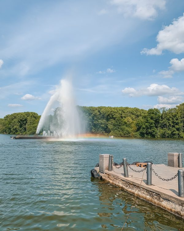Minsk Belarus is a beautiful place on a sunny day! Go boating on the lake near the Great Patriotic War Museum