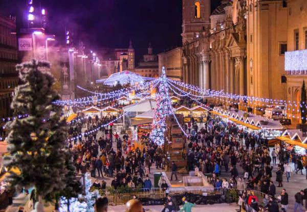 "Zaragoza Christmas market or ""Mercado Navideno Plaza del Pilar is an amazing festive market in the heart of the city"