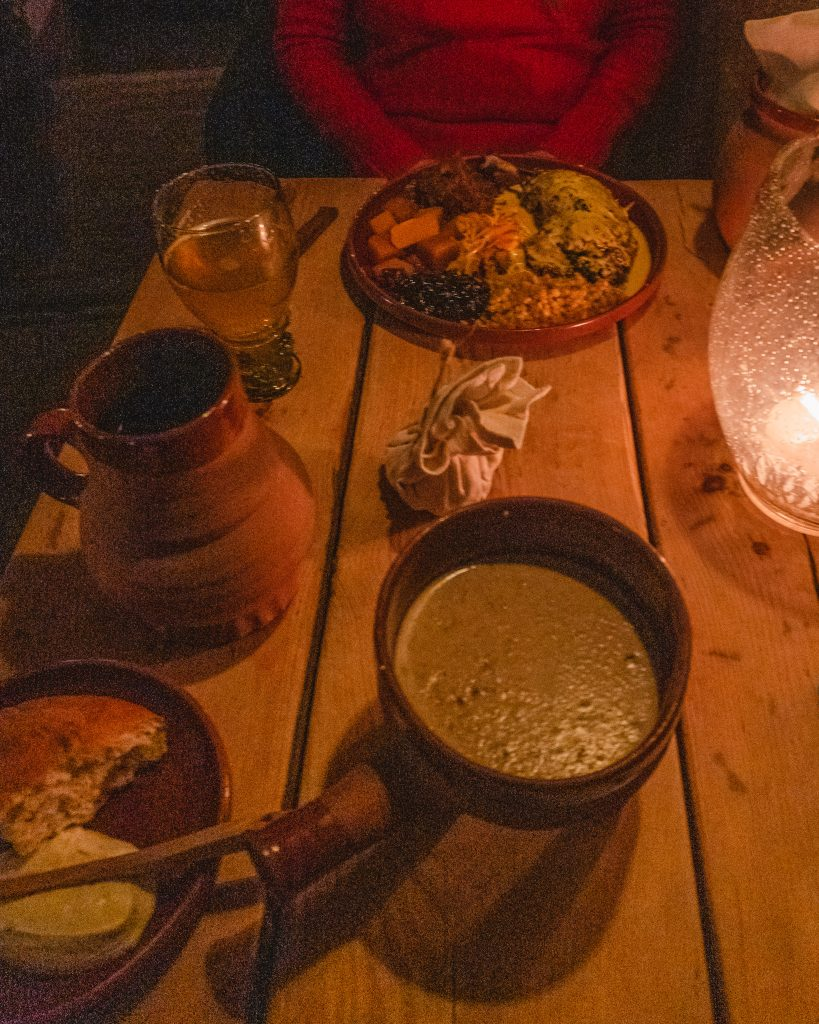 One of the best restaurants in Tallinn is Olde Hansa, a great place for authentic medieval food.