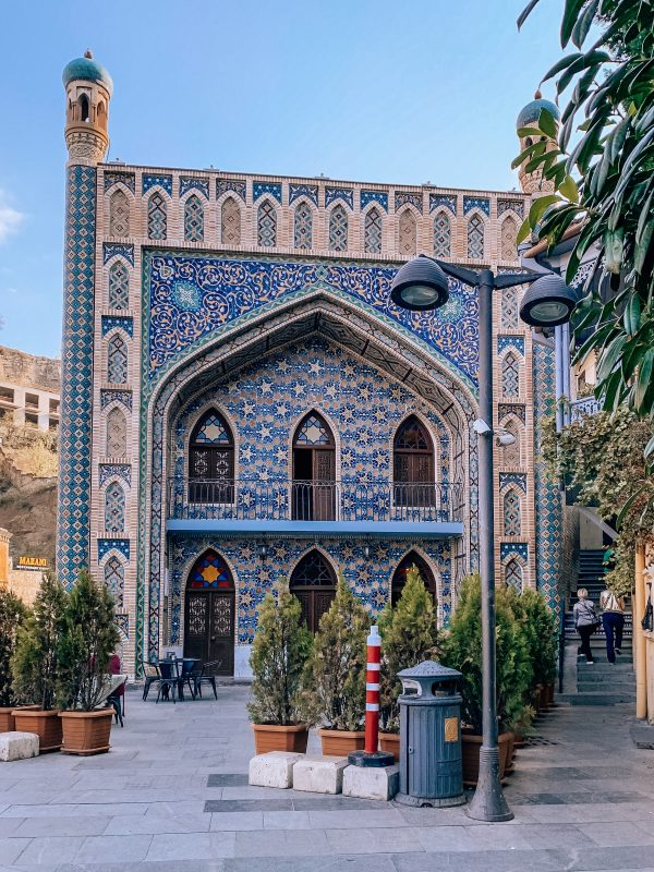 The most beautiful places in Tbilisi easily include the stunning Persian style Orbeliani Baths with its ornate blue facade.