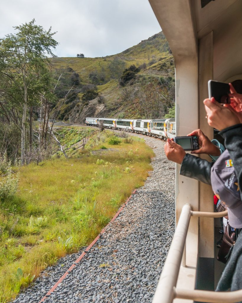 The best place for photos on the TranzAlpine journey is from the observation car at the back of the train
