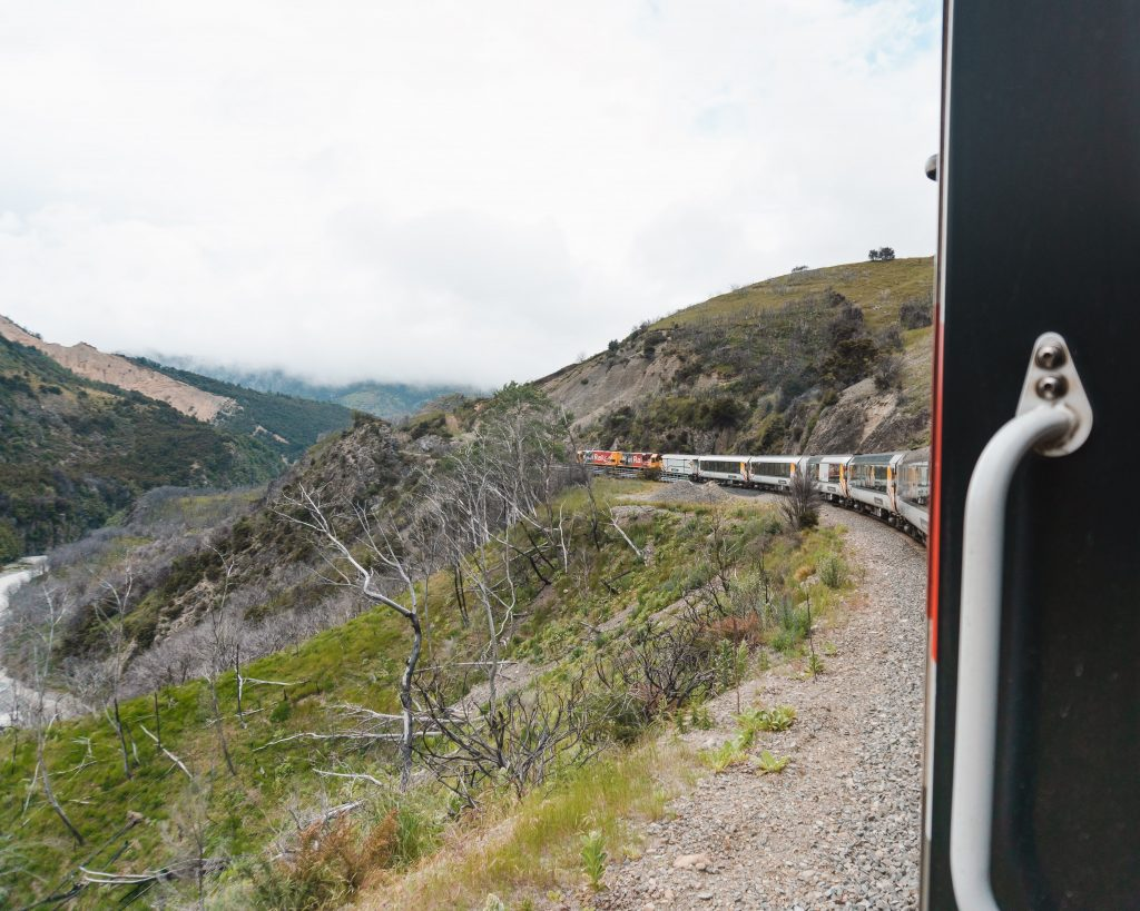 The observation car is the perfect place to get photos of the views on the TranzAlpine journey