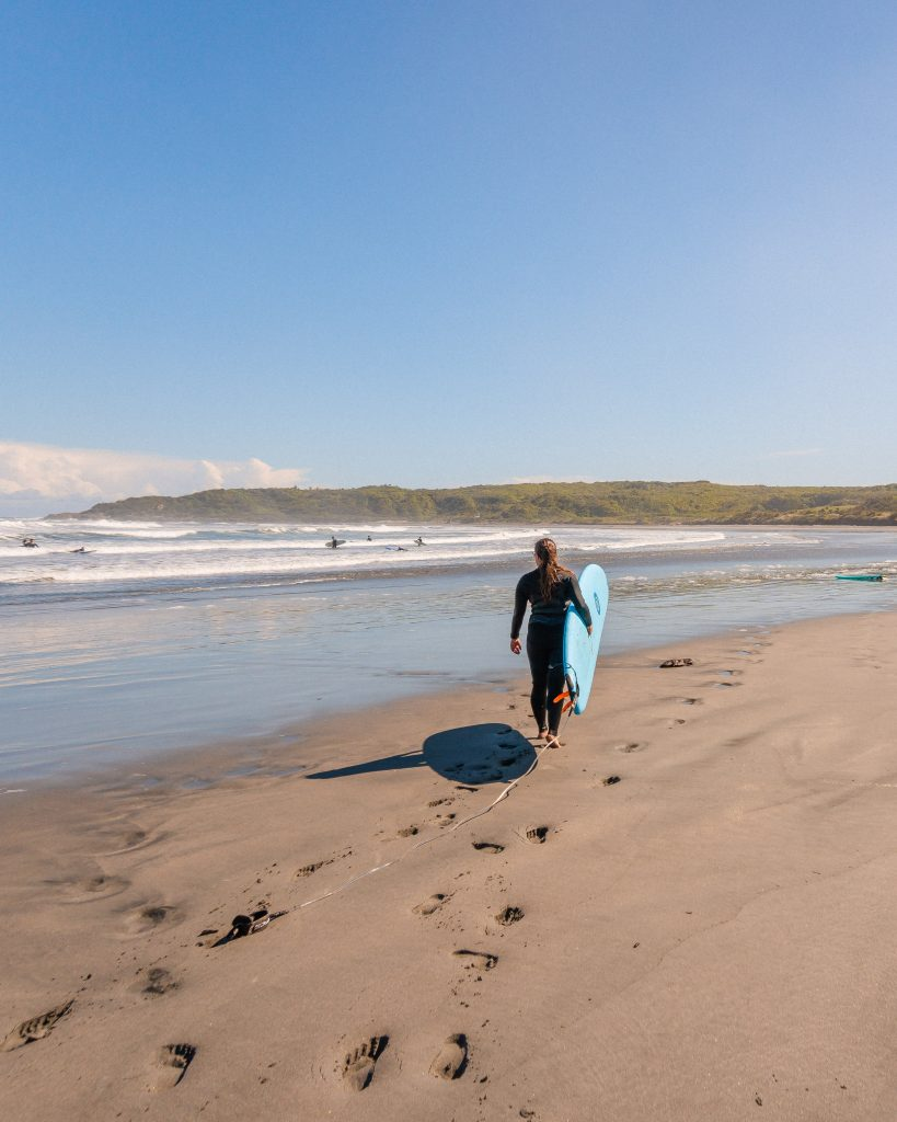 Surfing in New Zealand is best found on the beautiful west coast! Westport in New Zealand is a great spot to catch some waves when you explore New Zealand.
