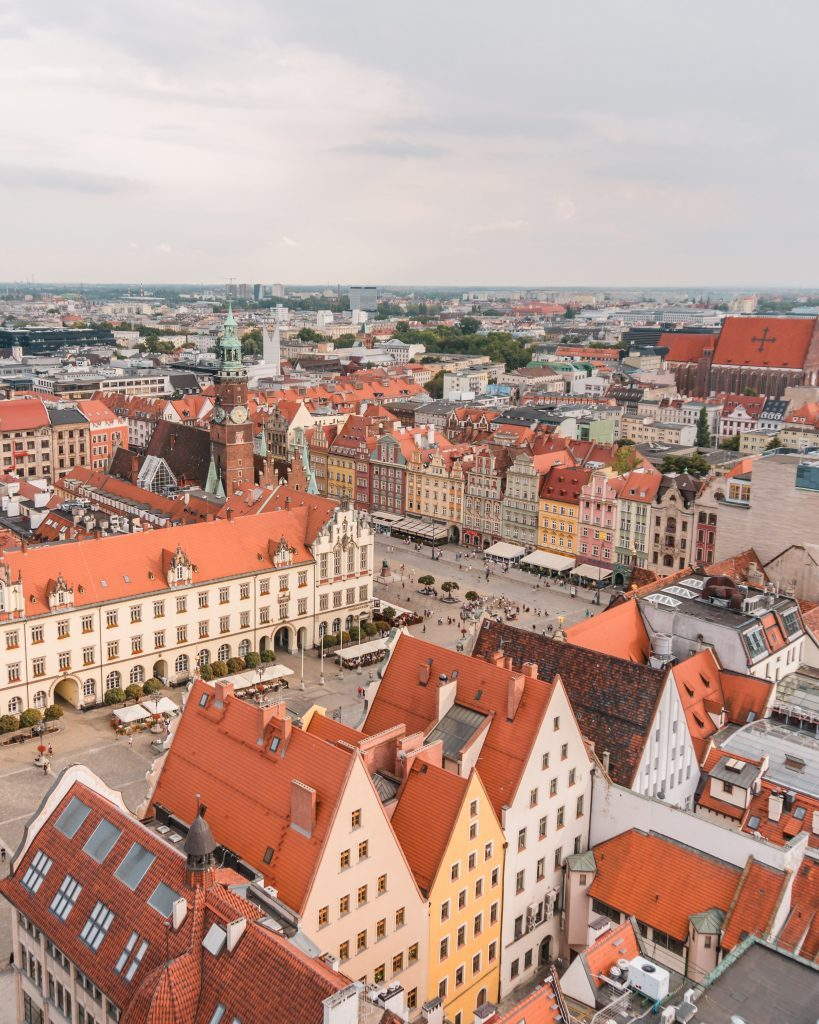 The views from the church tower over the market square is iconic in Wroclaw