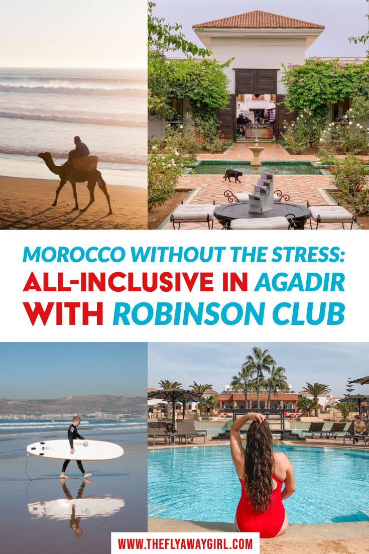 Agadir Morocco is a beautiful city in the south of Morocco with lots of activities including surfing. There are so many things to do in Agadir and one of the best places to stay has to be ROBINSON Club, an all inclusive resort. This luxury resort is a great place to stay when in Agadir! #morocco