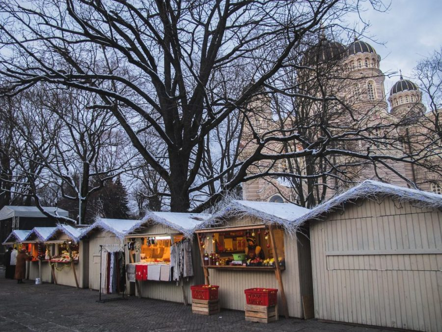 Riga's Christmas market is a beautiful selection of huts selling festive goods